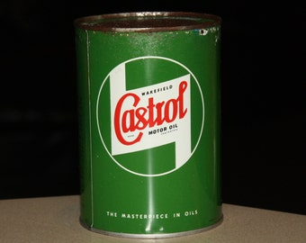 Vintage 1940s Wakefield Castrol Motor Oil Metal Quart Can SAE 10W; NOS, Unused with Contents