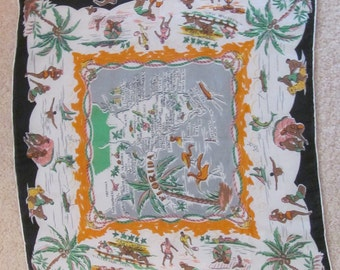 """Vintage Silk Florida State Map Souvenir Scarf // 17"""" Inch 44cm Square // Best of the Best"""