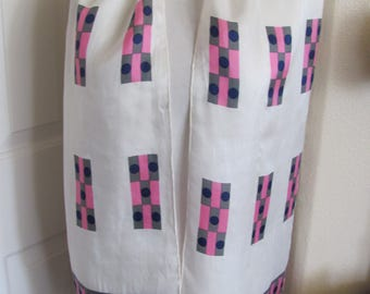 "Beautiful White Pink Silk Scarf // 11"" x 64"" Long"