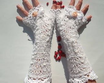 CROCHET GLOVES CUFFS / Victorian Fingerless Summer Women Wedding Lace Evening Retro Accessories Bridal Party White Romantic Boho Cotton B15