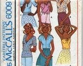 Vintage Misses' Set of Tops Sewing Pattern - McCalls 6009 - Size Medium (14 - 16) UNCUT