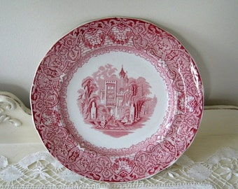 ON SALE Antique Pink Red Transferware Buda Plate England Staffordshire 19th Century Collectible