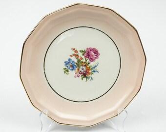 Limoges France China Plates Set of 10 Pink Bands Floral Bouquet Center