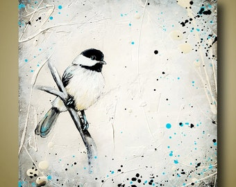 Chickadee Bird Painting Little Bird Art White Painting Square Small Painting 12x12 by Britt Hallowell