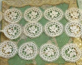 1.75 yards Gorgeous Antique applique intricate medallion cotton lace trim lovely piece edwardian flapper dress  intricate flower schiffli