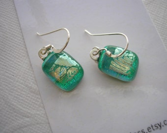 Dichroic Glass Jewelry Leaf Green Earrings Soft Sparkle Small Dangles .925 Sterling Silver Earwire Turquoise Teal Silver Leaf Pattern Dichro