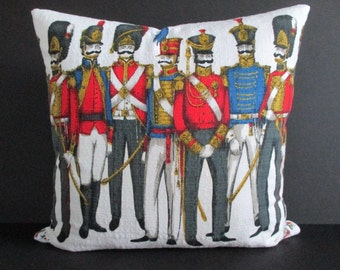Pillow Cover Vintage Barkcloth Napoleon French Soldiers Zipper