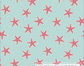 Aqua and Coral Sea Star 4 Way Stretch Jersey Knit Fabric, Modern Maritime By Corinne Wells for Club Fabrics, Sea Stars, 1 Yard