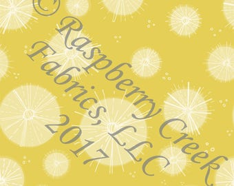 Tonal Yellow and White Starburst 4 Way Stretch Jersey Knit Fabric, Fly With Me By Kimberly Henrie for Club Fabrics
