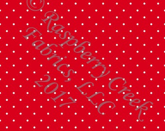 Red and White Pin Polka Dot 4 Way Stretch Jersey Knit Fabric, Club Fabrics