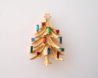 vintage golden Christmas Tree brooch pin  Mamselle candle baguettes & round glass rhinestones