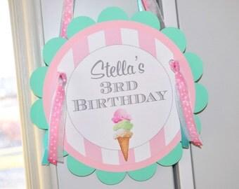 Ice Cream Birthday Door Sign, Sweet Shoppe, Vintage Ice Cream Parlour, Ice Cream Cone Party Decorations, Ice Cream Social