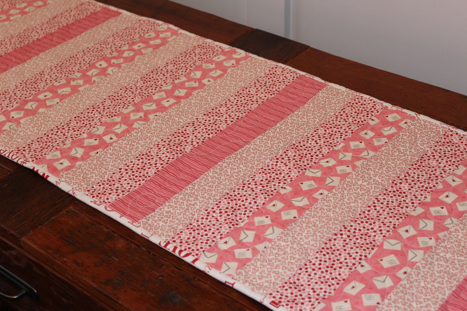 Handmade quilted table runner 16 x 51 happy for Diy valentine table runner