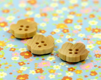 Concave Flower Wooden buttons , 0.47 inch , 10 pcs