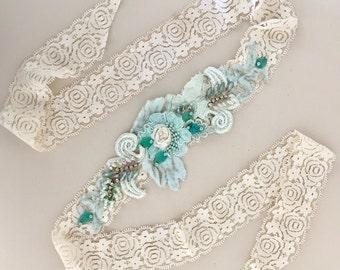 Aqua/turquoise beaded lace headband