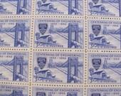 Escape from NY 50 Vintage UNused US Postage Stamps 3-c George Washington Bridge Bronx New Jersey Giants Blue Wedding Save the Date Philately
