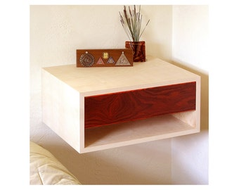 "17""w, Pair of floating nightstands, Birch with cocobolo drawer"