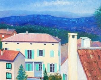 Cabries Provence, Aix-en-Provence, France painting, framed oil painting, Villa in Provence landscape art, Etsy Art, Jan Matson