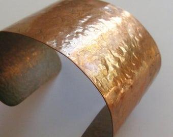 SPRING SALE Vintage 50s Mid Century Modernist Hammered Copper Studio Jewelry Cuff Bracelet