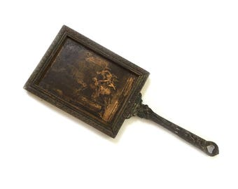 Antique Wood Hand Mirror Vanity Mirror Flirting Mirror Looking Glass with Long Cast Iron Handle - European - REDUCED