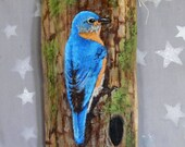 "Bright Bluebird, songbird, hand painted, authentic barn wood, 4"" X 10"""