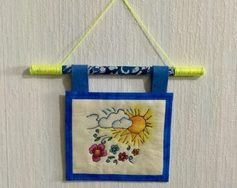 Sunny Days Hand Embroidered Mini Tapestry