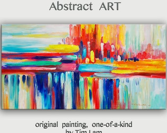 "Original oil Painting Wall Art Abstract Painting 48"" Canvas  Wall Decor Original Modern Home Deco, Wall Hanging,  by Tim Lam"