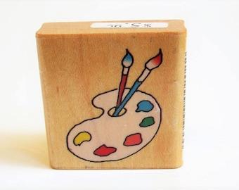 art teacher gift artist rubber stamp paint palette woodblock rare vintage 1982