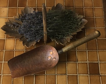French Antique Copper Scoop. Iron Wood Handle