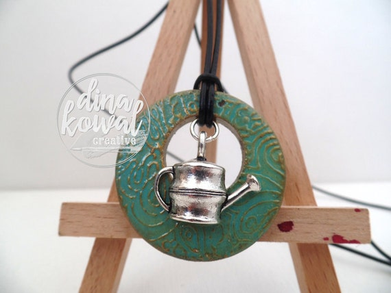 Watering Can wood pendant