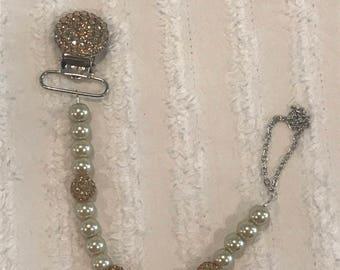 Beige Pearl & Gold Swarovski Crystal Beaded Rhinestone Pacifier Clip