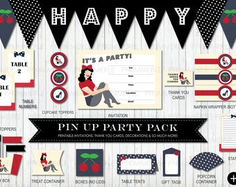 Vintage Pin Up Package, Birthday Party Decorations, DIY Party, Pin Up Vintage, Retro, Rockabilly, Ladies, Cherry RED Vanilla