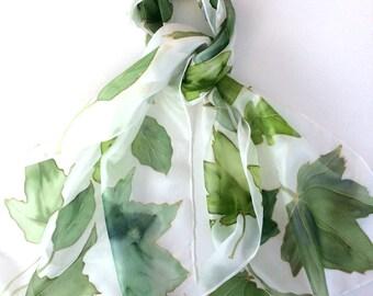 Green Leaves Hand Painted Silk Scarf. Leaf silk scarf.  Handpainted leaves.
