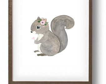 Watercolor squirrel  , Woodland nursery set, Animal Paintings, squirrel, nursery decor, woodland, kids posters