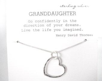 Open Heart Sterling Silver, Granddaughter Gift, Gift for Granddaughter, Granddaughter Necklace Granddaughter Graduation Gift