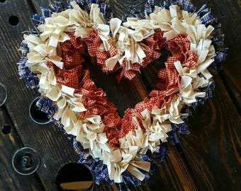 Patriotic Heart Rag Wreath, Primitive Fabric Wreath, Farmhouse Wreath, Americana Front Door Wreath, Handmade in NJ