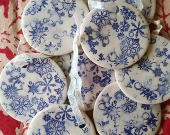 White Snowflakes Ceramic Ornament