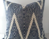 Both Sides / All Sizes / Navy Blue Ikat Decorative Pillow Cover / Geometric / Chevron Navy Blue and Ivory