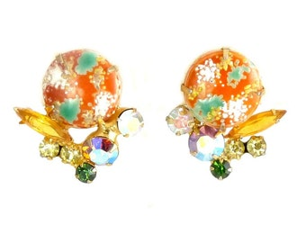 JULIANA Orange & Green Easter Egg Cabochon Earrings by DeLizza and Elster