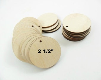 """Wood Earring Circles Pendant Laser Cut Wood Jewelry Shapes 2 1/2"""" (6.35 cm) Unfinished Wood - One Hole - 25 Pieces"""