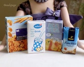 Miniature Food Groceries - Coffee Milk Cornflakes Tea Kitchen display Playscale Dolls fake food for 1/6 scale ~ 1/4 Scale (see Item Details)