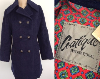 1970's Mohair Navy Blue Pea Coat w/ Ornate Metal Buttons Size Medium by Mawberry Vintage