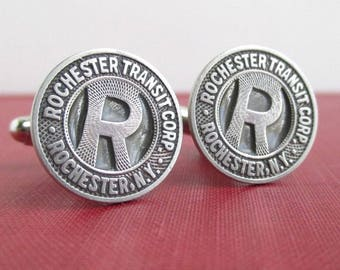 ROCHESTER, NY Transit Token Cuff Links - Vintage, Repurposed Silver Coins