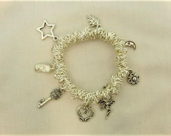 Silver Bracelet, Sweetie Bracelet With 10 Silver Plated Charms