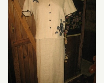 75% Off Sale Vintage Beige  Linen 2-PC Dress /SZ 6/Robbie Bee