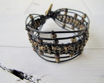 Bohemian Black Leather Wristband,  Rustic Czech Glass Beaded Bracelet, Small Boho Chic Beaded Bracelet