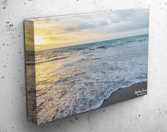 Beach Canvas Wrap, Beach Sunrise Photography, Ocean Wall Art, Gallery Wrapped Photo, Sunset Home Decor, Golden Sunrise, Canvas Any Size