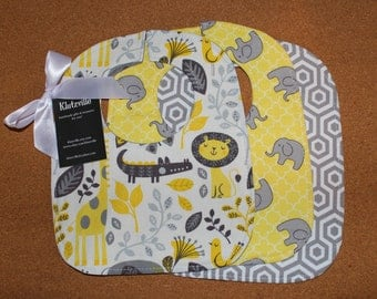 Gray & Yellow Prints S Bib Set of 3