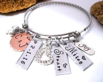 Super Sale Now Wedding Bracelet, Family Jewelry, Mom and Dad Jewelry, Jewelry for Grandma, Personalized Jewelry, Wedding Jewelry, Mom Jewelr
