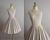 50's Striped Dress // Vintage 1950's Striped Cotton Full Garden Party Summer Day Dress S